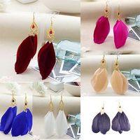 Hot Handmade Goose Feather Hook Earrings Drop Dangle Earring Women 1Pair Fashion Jewelry For Sale
