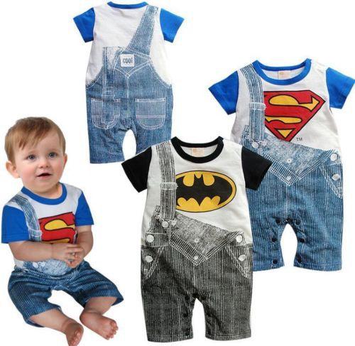 2015 Free shipping Cute Summer Newborn Clothes Baby Suit Boys Superman Batman Romper Cotton 0-24M(China (Mainland))