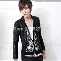 Men's fashion slim Leather Men's coat leather suit wholesale