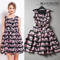 2015 Real Cotton Party Dresses Women Dress Mooerkerr Summer New Women's Vintage Small Floral Print Dress Slim Wholesale Agents