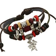 Free Ship 2014 New Fashion Vintage Leather Handmade Bracelet Cupid Arrow Pendant Full Of Beads Punk Bracelet For Women Lovers