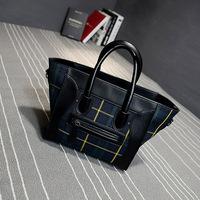 2015 fashion vintage women's handbag plaid canvas smiley bag shoulder handbag green and red two colors