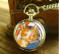 New arrival Lovely Two cats pattern Enamel watches Children like pendant quartz Necklace pocket watch  QW4