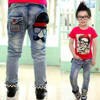 Aones Boys Jeans Brand Fashion Children's Denim Elastic Waist Pants Autumn Spring Cartoon Kids Wears Casual Long Trousers P110