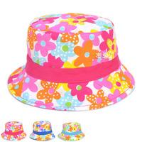 Colorful Flower Kids Bucket Cloth Hat Double Wear Sun Visor Hat Infants Beach Hats Baby Floppy Hat Summer Hats 1pc MZX-15006