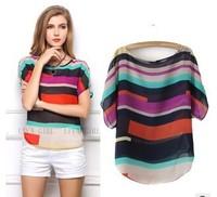Women's Blouse  Short-sleeve Top Lady Summer Shirt Chiffon Shirt Fashion Print T-Shirts Free shipping