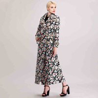 Spring autumn woman elegant ankle length coat maxi coat oversize coat floral print double breasted trench coat FF617