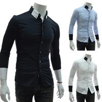 Free Shipping Men's Long-sleeved Shirt Slim Fashion Shirt High Quality Big Brand Design Sizes M-xxl