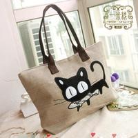 Women Handbag New 2015 Fashion Casual Women Woven Canvas Bag Cute Cat Shopping Bag Office Lady Lunch Bag 7 Colors Freeshipping