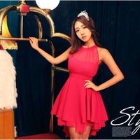 2015 New Irregular Stitching Chiffon Dress Sleeveless Chiffon Dress Sexy Halter Dress angle Slim dress Red and Black