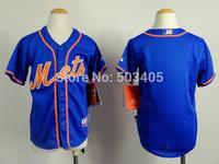 2015 New New York Mets Jerseys Kids Baseball Jerseys Embroidery Logos Mix Orders Blank Blue jersey1455