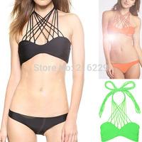 2015 Newest Fashion  Bikini Set Push Up Women's Swimwear  More Staps Halter Sexy Bikinis 3 Color S M L