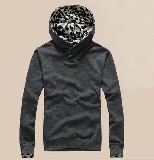 [해외]새로운 하이 넥 스웨터 모피 후드 표범 인쇄 남성 & 39;의..