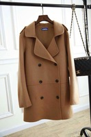 High end double side Wool and cashmere coat winter   dark blue Khaki camel