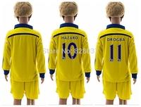 New Fashion Youth Uniforms Kit Fabregas Ramires Oscar Diego Drogba Hazard Yellow Kids Soccer Jersey 14/15 Long Sleeve Jerseys