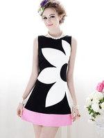 Women summer dress 2015 new desigual flower printed sweet girls vestidos casual free shipping plus size slim sleeveless vestidos