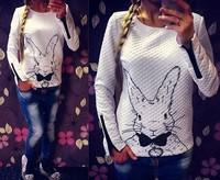 Spring Autumn Long Sleeve 2015 Women Hoody  Casual Sweatshirt Women Rabbit Printed Hoodies With Zipper Pullover