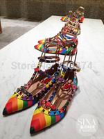 Free shipping 2015 valentin flats Rainbow rivet 3 T-strap valentine shoes women flats genuine leather Rockstud sandals size34-42