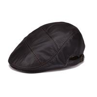 Casual genuine leather hat sheepskin cap forward cap spring and autumn hat
