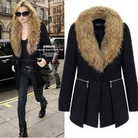 2015 Autumn/winter new design fur collar woolen coat Women's Black wool jacket coat women fur jackets Zipper Woolen jacket
