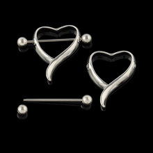 1 Pair 100 New Surgical Steel Love Heart Nipple Shield Bar Ring Body Piercing Jewelry 2015
