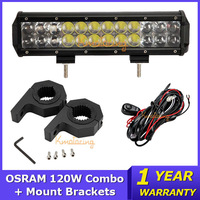 120W OSRAM Led Light Bar 12 inch Combo Led Work Light Offroad Light Bar+Mount Brackets+Wire relay For ATV/UTV/SUV Trucks 4x4 4WD
