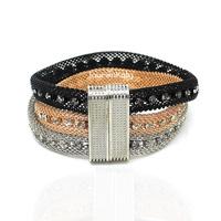 BR5312 Fashion women & men multilayer mesh bracelet,gold silver black plated crystal bangles,magnetic tube bar clasp accessories