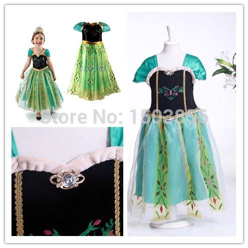 2015 New Arrival summer new green evening Forzen girls dress fantasy princess dress children beautiful quanlity dress ELSA ANNA(China (Mainland))