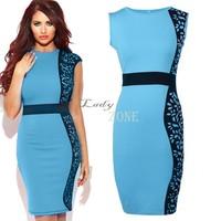 New Fashion Women Summer dress Slim Tunic print Floral/Leather Patchwork dresses Party Plus Size bodycon dress B11 CB035176