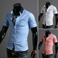 Free Shipping Men's Short-sleeved Shirt Slim Fashion Shirt High Quality Sportsman Shirt Size M-xxl-9069