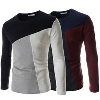 Camisetas Masculina 2015 New European American Style Patchwork Long Sleeve Brand T shirt  Men Fashion Tshirt ZHZ1269