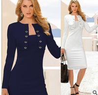 Women Elegant Spring Dress 2015 New Blue Patchwork Button Stitching Stretchy Pencil Shift Slim Bodycon Casual Work Midi Dress