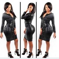 Women dress serpentine imitation leather girdle zipper nightclub long-sleeved dress fashion party dress free shipping