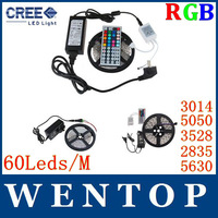 Waterproof 5M 60leds/m 5050 3528 2835 3014 5630 5730 led strip light and 44key IR Remote and Power supply US EU UK AU