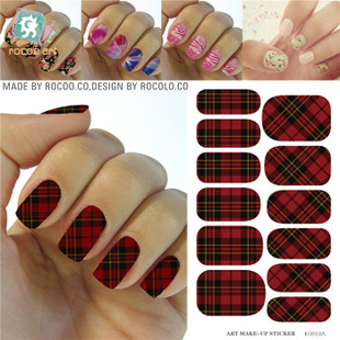 KG012A Water Transfer Foils Nail Art Sticker Scarlet And Black Plaid Design Manicure Decals Minx Nail Decorations Patch Cheap(China (Mainland))
