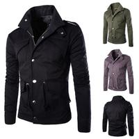 Fashion New Spring 2015 Men's Multi-pocket design solid color British wind jackets Casual Slim Men Jacket coat 2colors