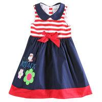 Cute Girl Children Dress Nova Floral Girls Costumes Summer Bow baby girl dress 100% cotton Girls Clothes H5746