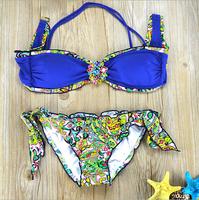 Brand bikini floral Crystal swimwear new 2015 Bikinis discount Swimwear floral swimsuit Fashion women bikini set Free Shipping