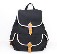 2015 Hot Sale! Fashion canvas backpack women shoulder bags Vintage women backpack Casual women school bag H006 black