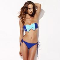 2015 new small fresh bow rope chest Bra swimwear triangle bikini swimsuit free shipping