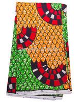 Nigerian Super Deluxe Wax Fabric Green Orange Trees Africanwear 6 Yards sw213102