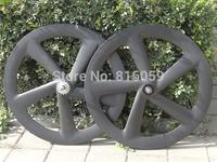 Full Carbon Matt ( 3K ) Track Bike Five Spokes Clincher Wheelset