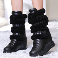 Free shipping 2015 Women's winter genuine leather elevator wedges high-heeled boots thermal medium-leg boots thick velvet snow