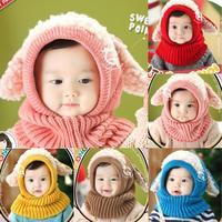 Winter Baby Kids Girls Boys Winter Warm Woolen Coif Hood Scarf Scarves Caps Hats Freeshipping