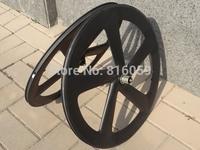 Full Carbon Matt ( 3K ) Road Bike Five Spokes Clincher Wheelset