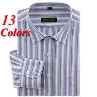 Brand New Oxford Striped Men Shirts Long Sleeve Business Dress Shirt Men's Casual Social Shirts