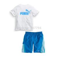 Free shipping!2015 summer cotton brand children's sports suits kids boys white short sleeves T-shirt+blue sports shorts set