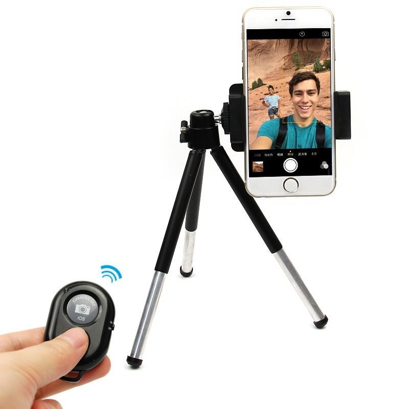 Mini bluetooth with Phone Tripod Mount Clip Stand Selfie Wireless Shutter Extendable Holder For iPhone 4 4s 5 5s 6 plus(China (Mainland))