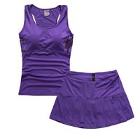 Summer women's 2015 sports skirt sports skirt sports vest short skirt yoga clothing set pleated sports culottes