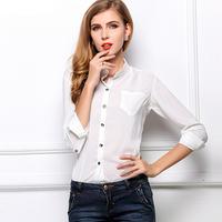 2015 summer new women's casual bottoming shirt Stand collar long-sleeved chiffon shirt blouses Plus Size roupas femininas CS109